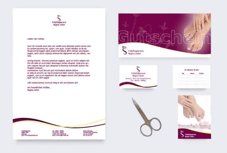 Corporate Design (Logo, Visitenkarten, Briefpapier, Karten) für die Fußpflegepraxis Regina Sailer