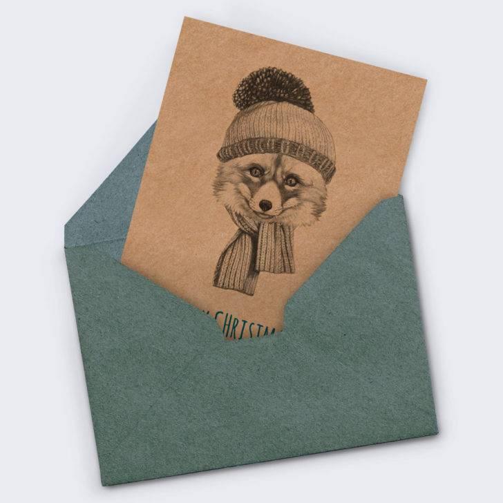 Weihnachtskarte Fox auf Kraftpapier mit Umschlag aus Naturpapier