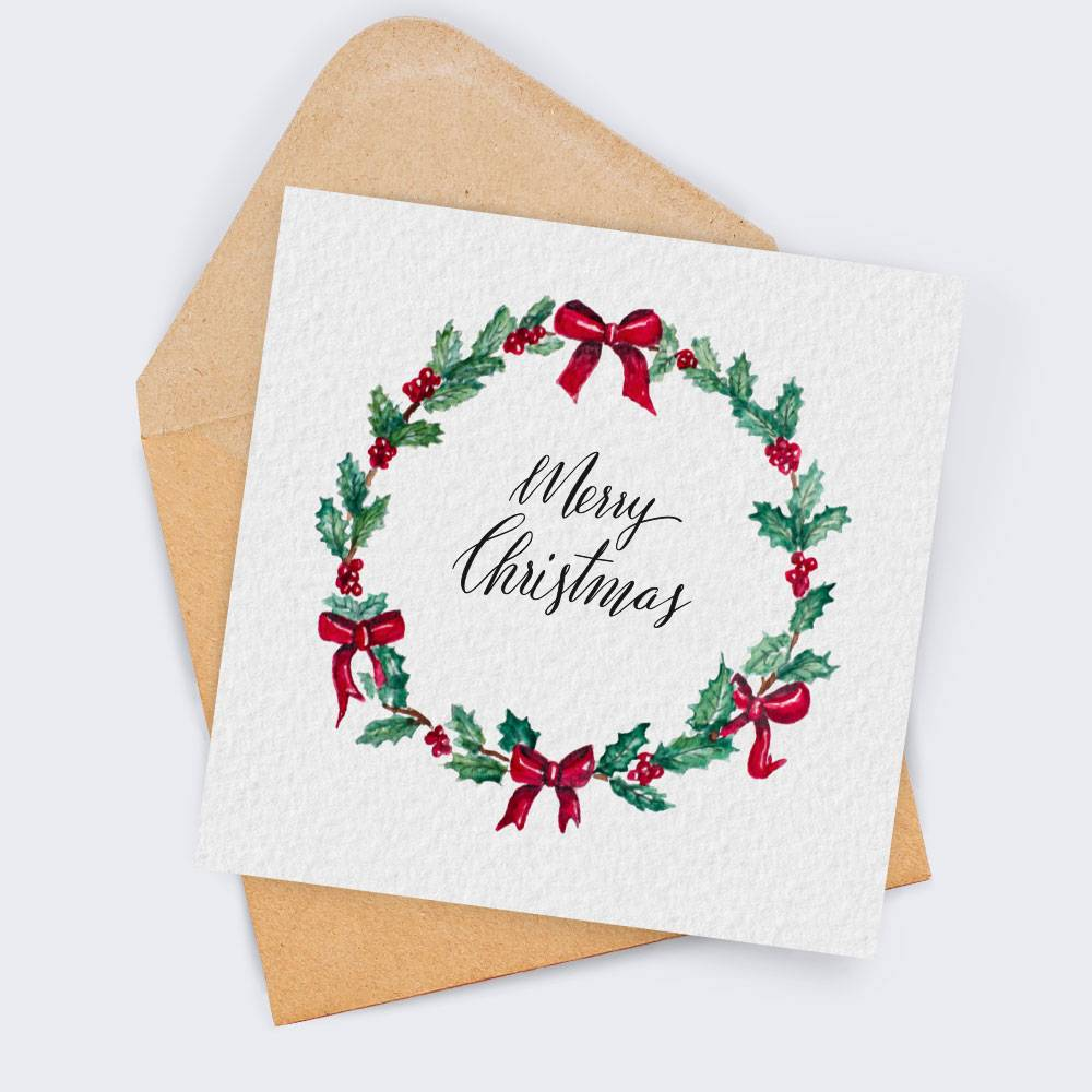 Weihnachtskarte Merry Christmas mit Briefumschlag