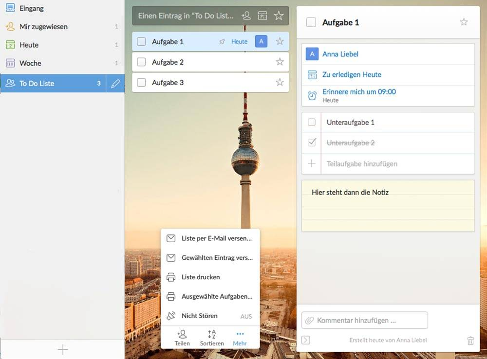 To Do Liste Wunderlist