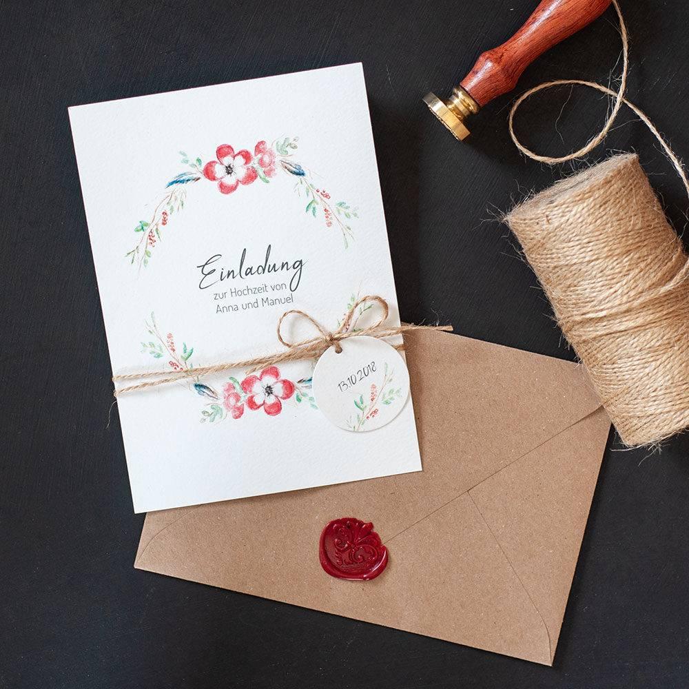 Hochzeitseinladungen Boho/Vintage mit Blumenkranz gestalten lassen