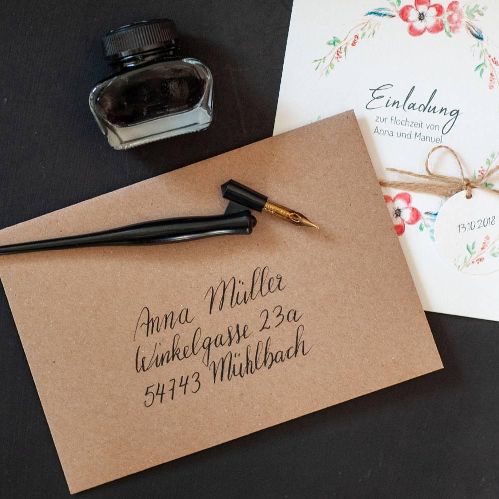 Hochzeitseinladungen Boho/Vintage mit Blumenkranz