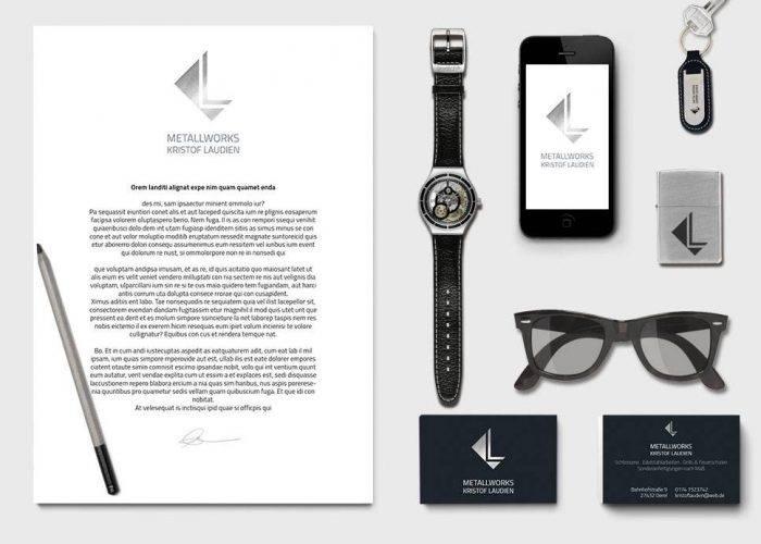 Corporate design (Logo und Visitenkarten) für Schlosserei Metallworks Kristof Laudien